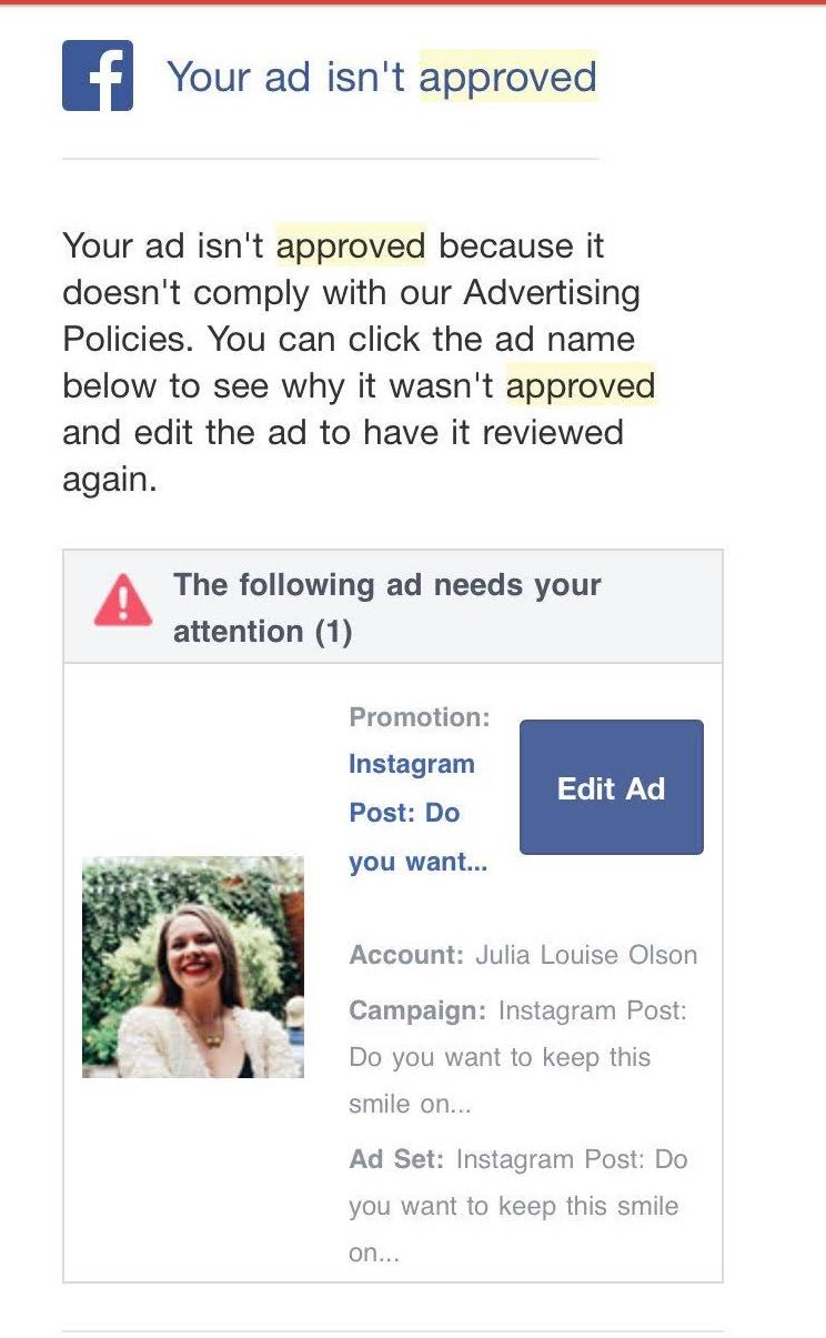 Two Posts With Images Were Submitted To Facebook For Ads